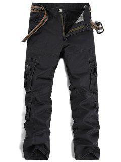 Zipper Fly Pleat Pockets Straight Leg Cargo Pants - Deep Gray 36