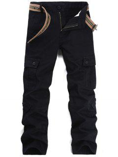 Zipper Fly Pockets Cargo Pants - Black 32