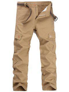Zipper Fly Pockets Cargo Pants - Khaki 32