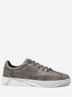 PU Leather Whipstitch Casual Shoes - Gray 43
