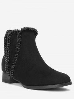 Low Heel Whipstitch Ankle Boots - Black 37