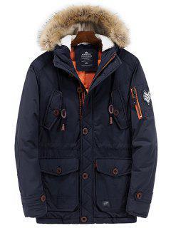 Multi Pockets Zip Up Hooded Parka Coat - Purplish Blue L