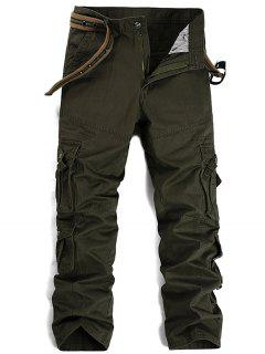 Zipper Fly Pleat Pockets Straight Leg Cargo Pants - Army Green 36