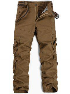 Zipper Fly Pleat Pockets Straight Leg Cargo Pants - Khaki 34
