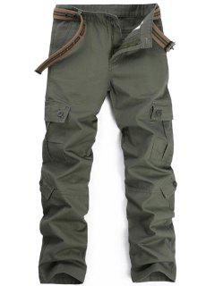 Zipper Fly Pockets Cargo Pants - Army Green 36