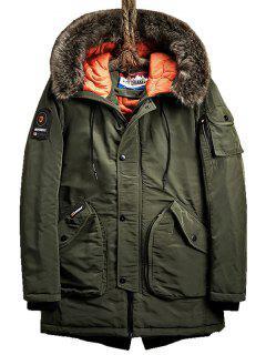 Flap Pockets Zip Up Hooded Parka Coat - Army Green 2xl