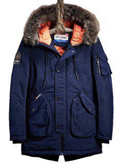 Flap Pockets Zip Up Hooded Parka Coat - Purplish Blue Xl
