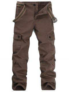 Zipper Fly Pockets Cargo Pants - Coffee 36