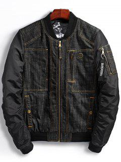Denim Panel Bomber Jacket With Pocket Detail - Black 2xl