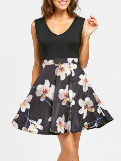 Floral Print V Neck Sleeveless Mini Dress - Black 2xl