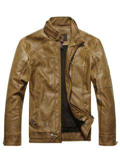 Faux Leather Mens Biker Jacket - Brown L