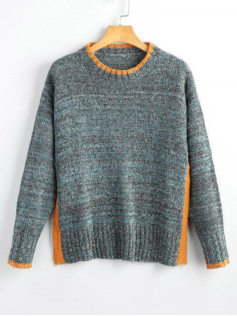Contraste Heathered Slit Pullover Suéter - Gris Talla única Mobile