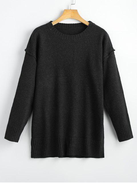 fancy Heathered Oversized Pullover Sweater - BLACK ONE SIZE Mobile