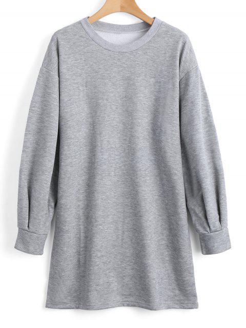 Sweat-shirt Décontracté Long à Manches Longues - gris S Mobile