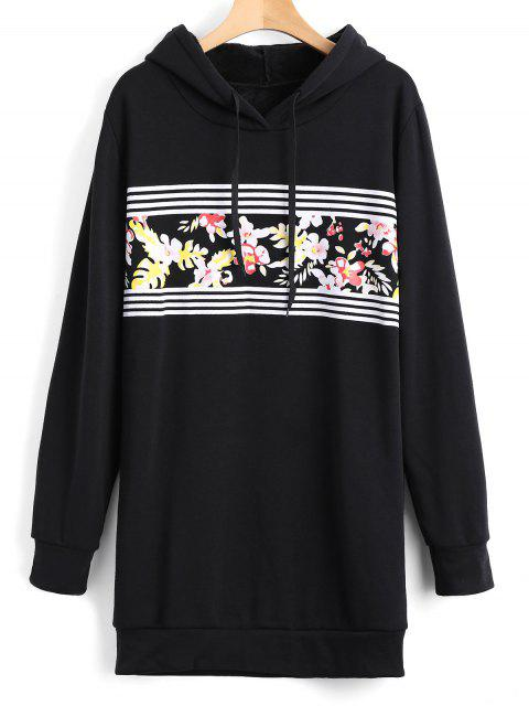 new Longline Floral Stripes Panel Hoodie - BLACK S Mobile