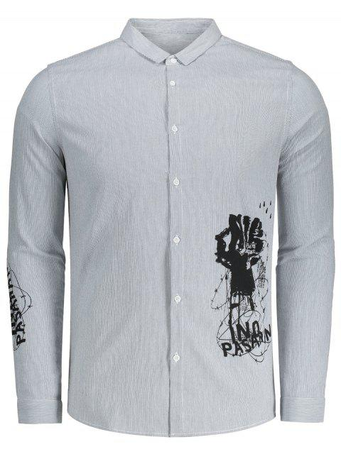 Printed Button Up Gestreiftes Hemd - Grau & Weiß 3XL Mobile