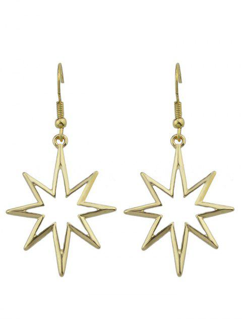 ladies Geometric Alloy Hollow Out Pendant Earrings - GOLDEN  Mobile