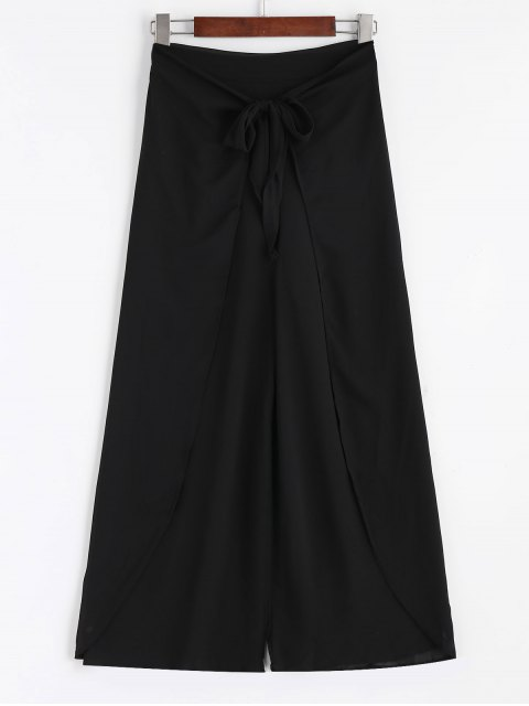 new Bowknot Layered Wide Leg Pants - BLACK ONE SIZE Mobile