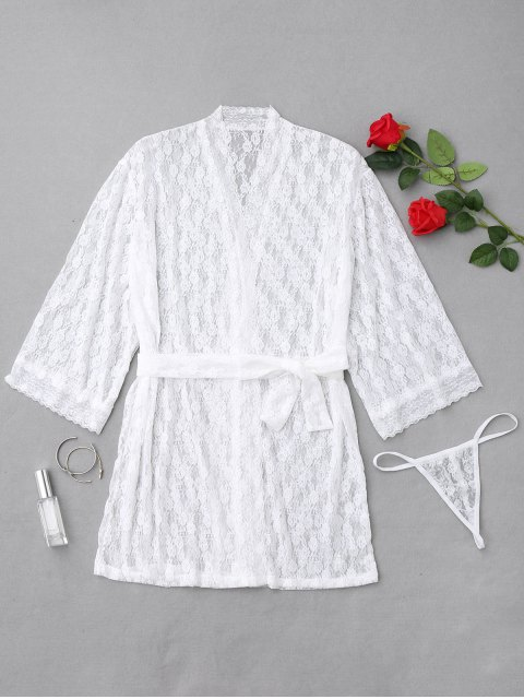 latest Floral Lace Sheer Night Robe - WHITE ONE SIZE Mobile