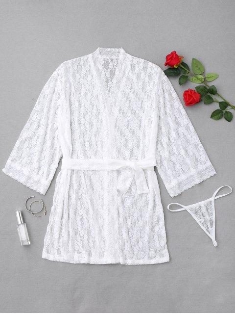 Robe de nuit en dentelle florale - Blanc Taille Unique Mobile