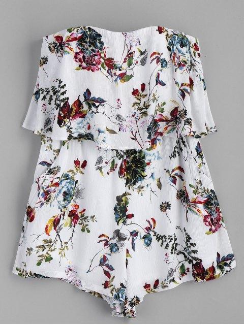 buy Strapless Floral Overlap Romper - WHITE L Mobile
