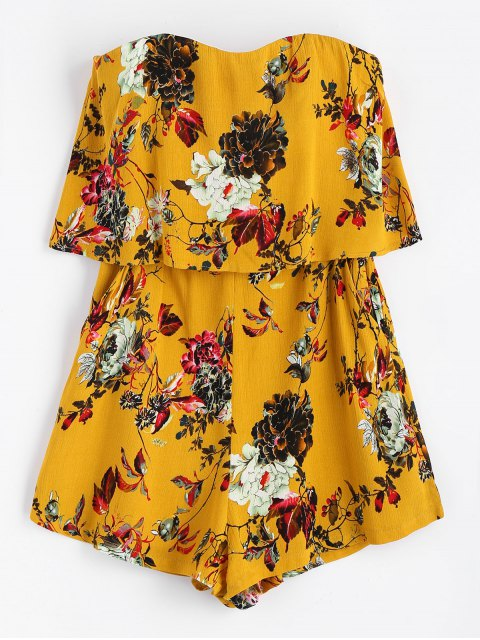 hot Strapless Floral Overlap Romper - YELLOW M Mobile