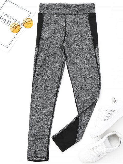 buy Heathered Sports Leggings - BLACK S Mobile