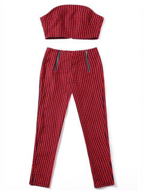 outfits Plaid Tube Top with Zipper Pants - RED XL Mobile