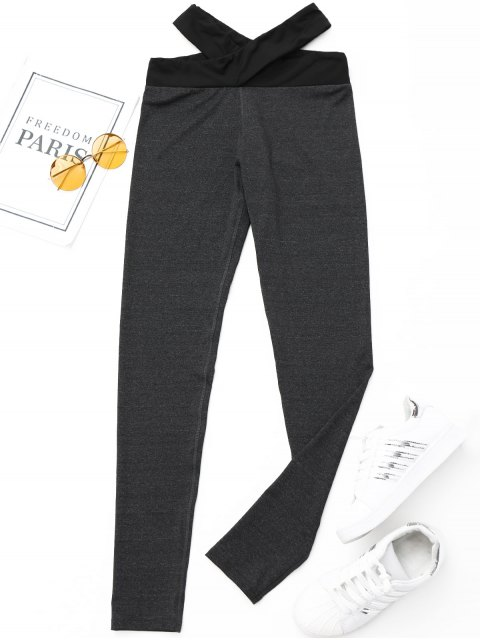 women Criss-cross Active Leggings - DARK GREY XL Mobile