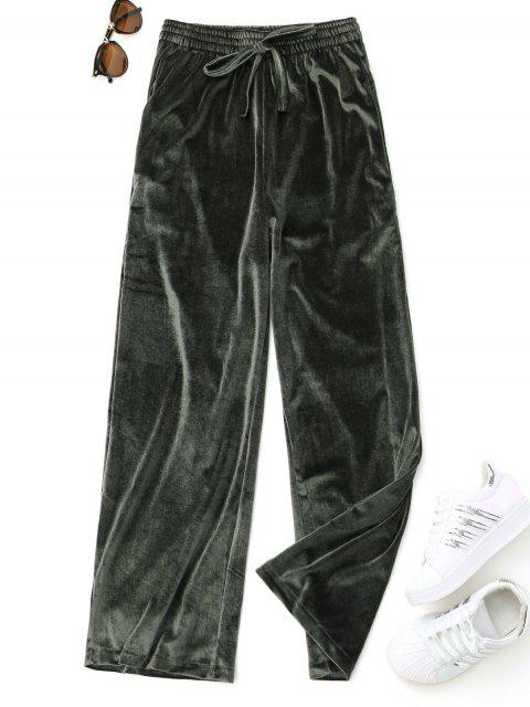 ladies Casual Tied Velvet Pants - GREEN ONE SIZE Mobile