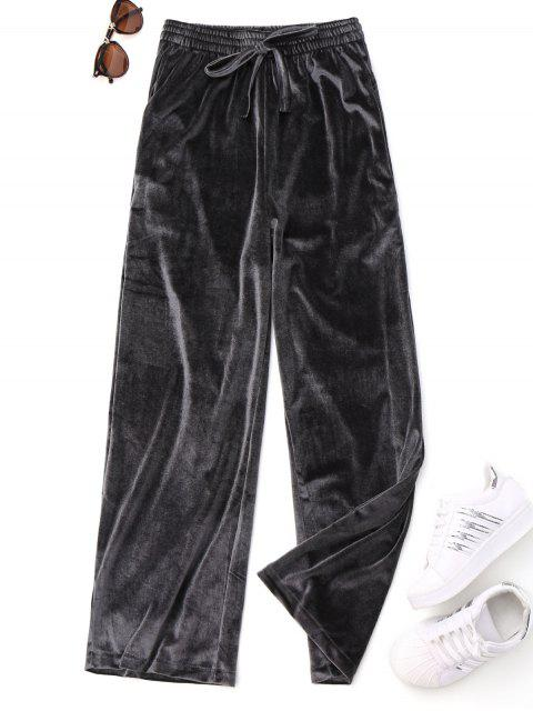 lady Casual Tied Velvet Pants - GRAY ONE SIZE Mobile