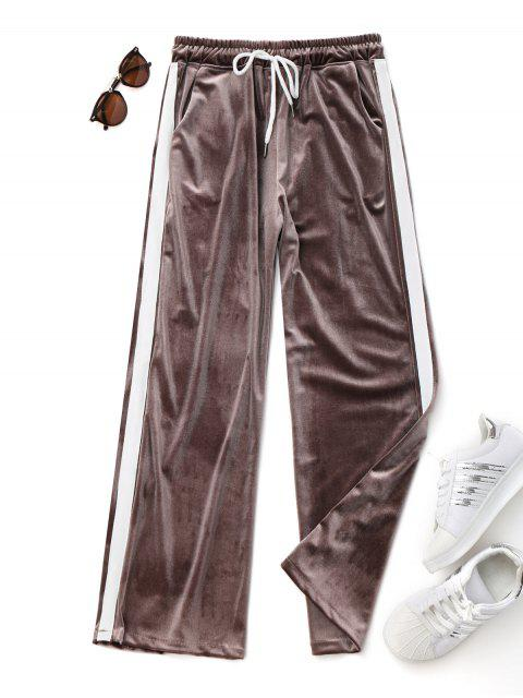 online Drawstring Two Tone Velvet Pants - COFFEE ONE SIZE Mobile