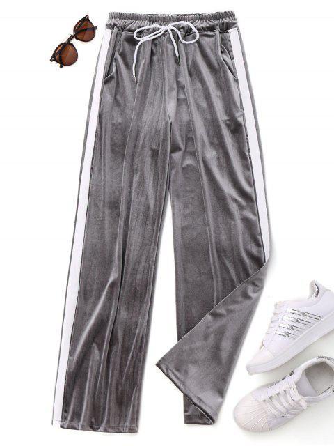 new Drawstring Two Tone Velvet Pants - GRAY ONE SIZE Mobile