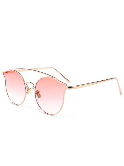 fancy Metal Frame Full Rim Butterfly Sunglasses - GRADUAL PINK  Mobile