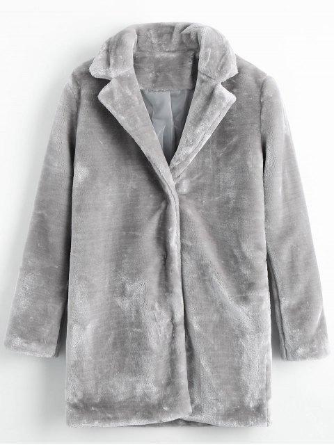 Chaqueta de piel sintética con bolsillos a presión - Gris M Mobile