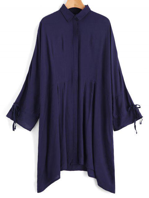 lady Bow Tied Sleeve Oversized Shirt - PURPLISH BLUE S Mobile