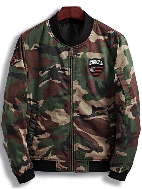 trendy Patch Design Camouflage Bomber Jacket - DARK AUBURN M Mobile