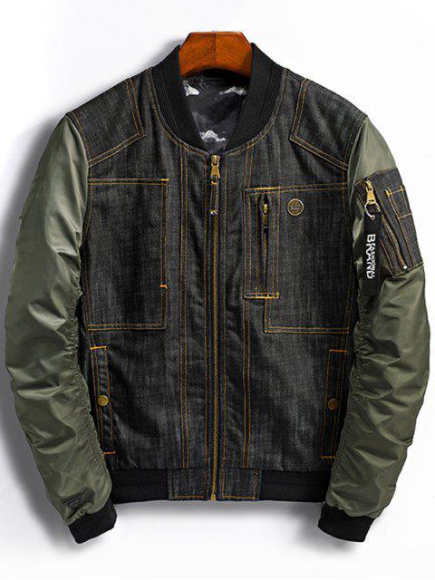 ladies Denim Panel Bomber Jacket with Pocket Detail - GREEN M Mobile