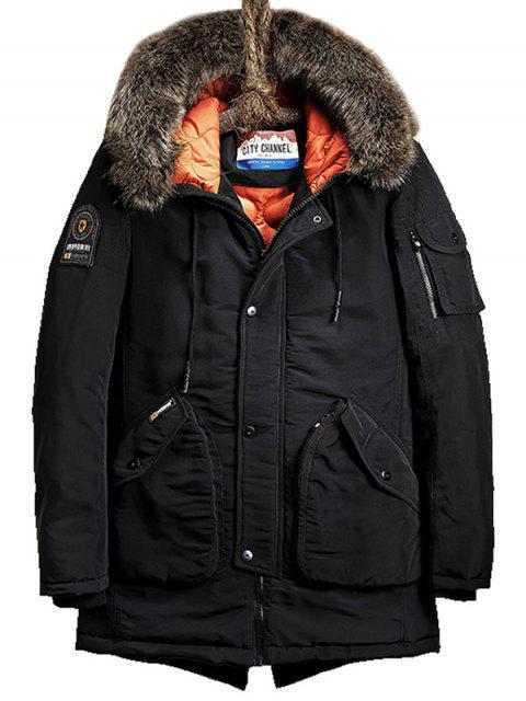 women Flap Pockets Zip Up Hooded Parka Coat - BLACK L Mobile