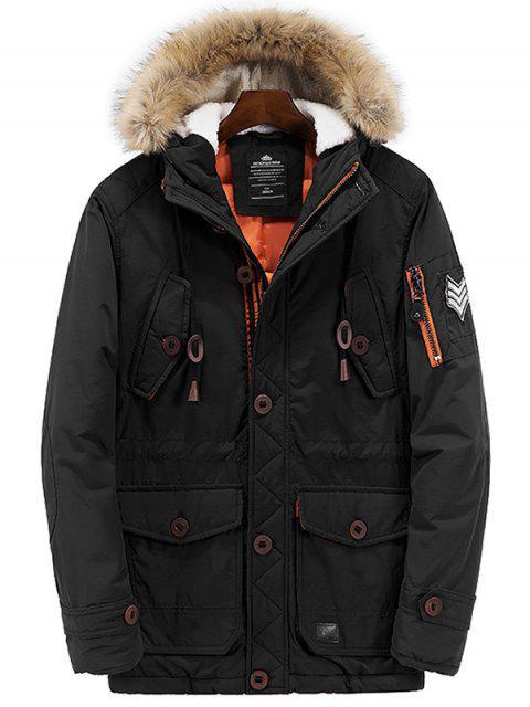 outfit Multi Pockets Zip Up Hooded Parka Coat - BLACK M Mobile
