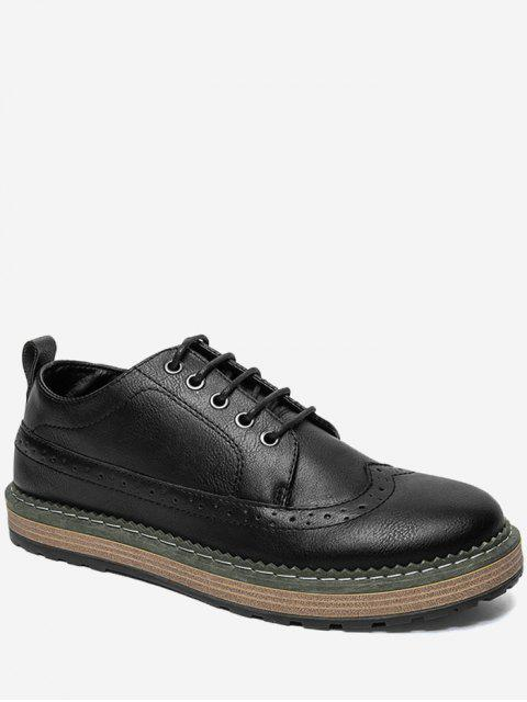 PU Leather Wingtip Casual Shoes - Noir 44 Mobile