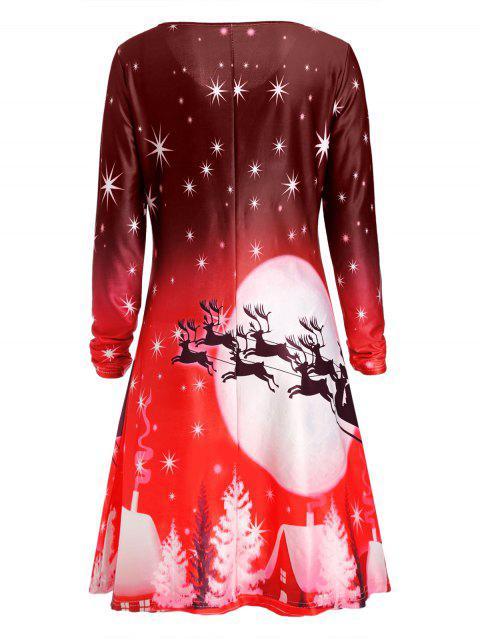 Vestido de Manga Larga de Navidad Ciervo - Rojo XL Mobile