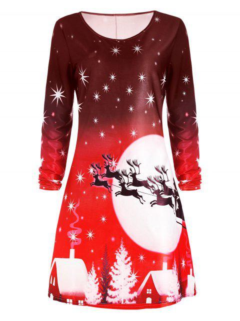Robe Imprimée Cerf de Noël à Manches Longues - Rouge 2XL Mobile