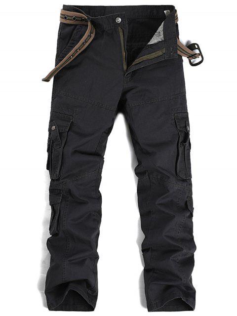Zipper Fly plisados bolsillos rectos pantalones de carga de pierna - Gris Oscuro 34 Mobile