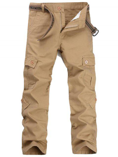 Zipper Fly Pockets Cargo Pants - Kaki 32 Mobile