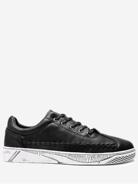 PU Cuir Whipstitch Chaussures Décontractées - Noir 41 Mobile
