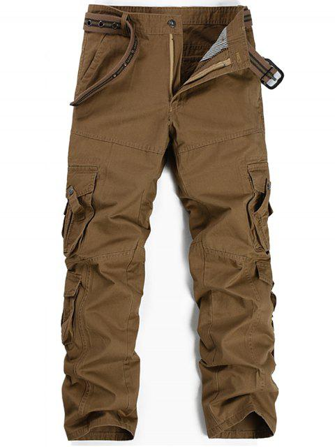 ladies Zipper Fly Pleat Pockets Straight Leg Cargo Pants - KHAKI 38 Mobile