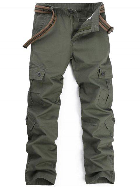 Zipper Fly Pockets Cargo Pants - Vert Armée 36 Mobile