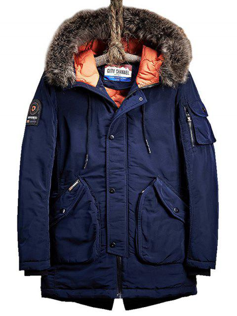 unique Flap Pockets Zip Up Hooded Parka Coat - PURPLISH BLUE XL Mobile