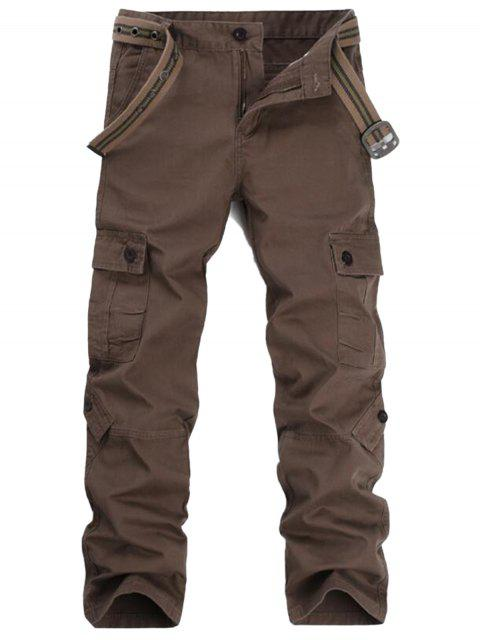 ladies Zipper Fly Pockets Cargo Pants - COFFEE 36 Mobile